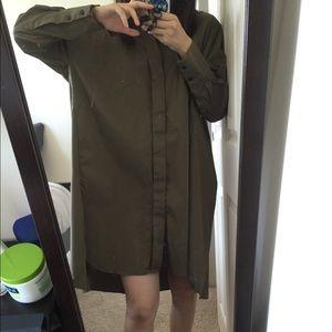Zara olive oversized shirt/dress